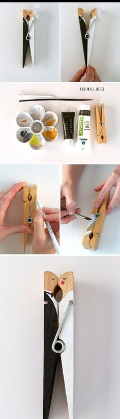 Bride & groom clothespin