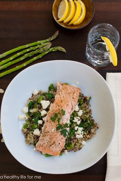 Salmon Quinoa Feta & Spinach Salad / www.ahealthylifeforme.com