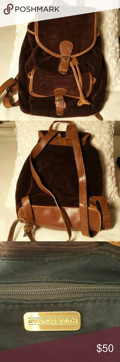 Amanda Smith  Brown corduroy backpack Great Amanda Smith Brown corduroy backpack Great condition but the zipper pull Amanda Smith Bags Backpacks