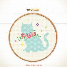 Cat Cross stitch pattern PDF Kitten with Floral by redbeardesign