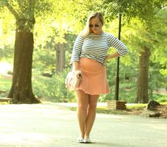 Saint James Stiped Shirt Pink Flared Skirt