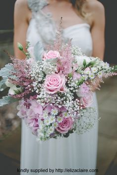 Ultra Romantic Bridal Bouquet: White Lisianthus, White Gypsophila, White/Green Monte Casino Asters, Pink Hydrangea, Pink Roses, Pink Astilbe, Dusty Miller