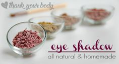 This all natural homemade eye shadow recipe is simple and customize-able. Check out the four color options and then have fun creating your own.