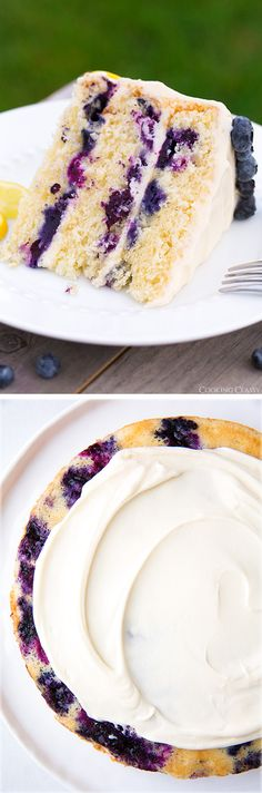 Lemon Blueberry Cake with Cream Cheese Frosting - This got RAVE reviews! Everyone loved it, my neighbor even came back and asked for more! #recipe