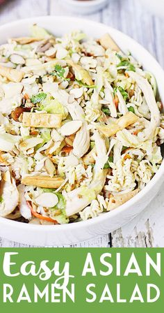 Easy Asian Ramen Salad — My family LOVES this Asian ramen salad! An Asian salad kit + rotisserie chicken + a few simple ingredients equals the easiest Asian ramen noodle salad ever! Informations About Easy Asian Ramen Salad Asian Ramen Noodle Salad, Asian Chopped Salad, Asian Chicken Salads, Asian Salads, Salad Chicken, Salad Kits, Salad Ideas, Noodle Recipes, Ramen Recipes