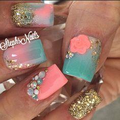 #mint#coral#white#glitterombre#chunkygold#tripleacrylicombre