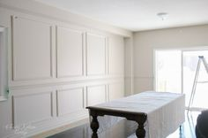 Hallway Restoration Hardware Inspired DIY Wainscoting & Chair Rail — Classy Glam Living Using The Gr Wainscoting Nursery, Beadboard Wainscoting, Dining Room Wainscoting, Wainscoting Panels, Wainscoting Ideas, Tufted Dining Chairs, Dining Room Furniture, Dining Rooms, Lounge Chairs