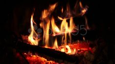 Fire Burning In The Fireplace - Stock Footage | by eZeePicsStudio