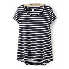 SheIn(sheinside) Navy Short Sleeve Striped Dip Hem T-Shirt ($12) ❤ liked on Polyvore featuring tops, t-shirts, shirts, stripe, navy, cotton t shirts, blue striped shirt, blue shirt, blue t shirt and striped shirt