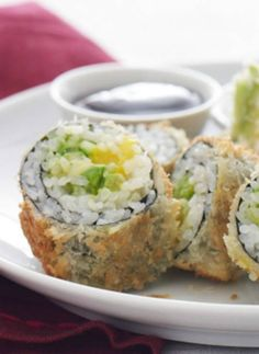 Kosher Tempura Sushi Rolls with Spicy Mayo A little imitation crab goes a long way!