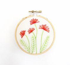Embroidery Hoop Art - Pincushion Flowers red orange garden blooms