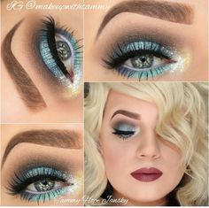 Blue, green, turquoise, silver, glitter, eye makeup by @makeupwithtammy