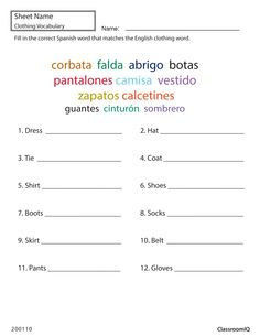 Spanish greetings matching classroomiq spanishworksheets spanish clothing words spanishworksheets classroomiq newteachers m4hsunfo