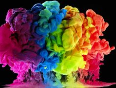 Aqueous Rainbow Skies by mark mawson photography | Aqueous Rainbow Skies - images created using paint and ink in water.