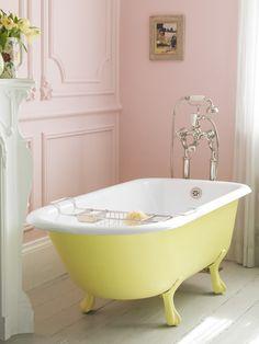 Bathroom Decor yellow Yellow Le Provence bath with pink panelled walls Timeless Bathroom, Bathroom Makeover, Pink Bathroom Tiles, Bathroom, Yellow Bathrooms, Perfect Pastels, Baby Bathroom, Bathroom Decor, Yellow Baths