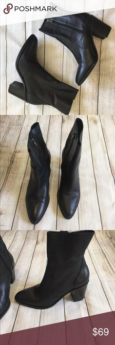 Steve Madden | Mareena Ankle Boots Steve Madden Black Mareena Ankle Boots! SO CUTE! excellent condition, slight ware on the bottoms. Leather lining, rubber sole. Size 10M. Heel: 3.5 inches. ⭐️offers welcome⭐️ Steve Madden Shoes Ankle Boots & Booties