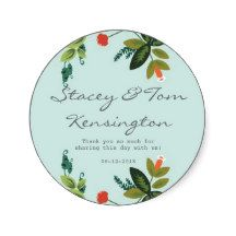 Festive Florals - Baby Blue + Olive / Apple Green Stickers