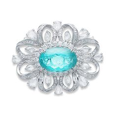 """Centering upon an oval-cut Paraíba tourmaline weighing 12.54 carats natural tourmaline is greenish-blue (""""Paraíba""""-type) color, originates from Mozambique and is (H) enhanced by heat with no residues present,"""