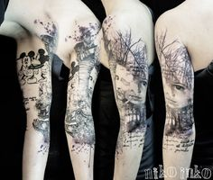 55+ Examples of Watercolor Tattoo | Cuded There is a lot going on in this tattoo, the detail is amazing.