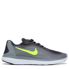 Nike Kids' Flex Run 2017 Running Shoe Grade School Shoes (Grey/Volt) - 5.0 M