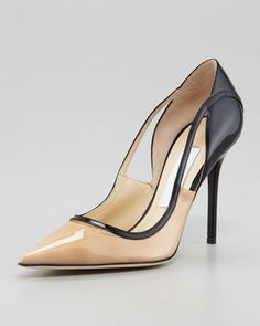 Jimmy Choo Vero Colorblock Patent Leather Pump Nude Black Jimmy Choo
