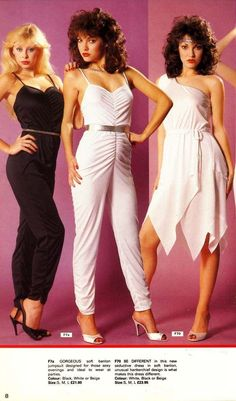 """(left): """"Gorgeous soft banlon jumpsuit designed for those sexy evenings and ideal to wear at parties."""" (center): """"Be different in this new seductive dress in soft banlon, unusual hankerchief (sp) design is what makes this dress differe 80s Disco Fashion, 1977 Fashion, Miami Fashion, Trendy Fashion, Vintage Fashion, Retro Fashion, Vintage Style, Miami Moda, Popsugar"""