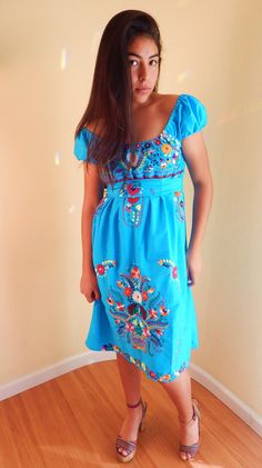 Altered mexican embroidered dress Peasant style by stilettoRANCH