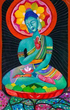 """Meditating Buddha"" - watercolor on handmade paper © Vassia Alaykova 2014"