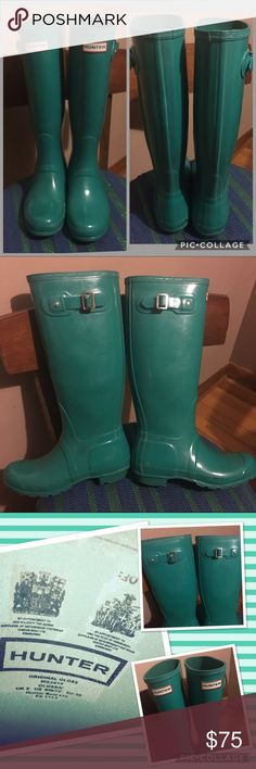 Green Hunter Boots Tall Woman's 7 Rain Snow Woman's 7. Minimal scuffing from normal use. Minor heel wear. Little peel on the buckle. A great pair of boots! Hunter Shoes Winter & Rain Boots