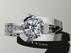 14KW Contemporary engagement ring                                                                                                                                                                                 More