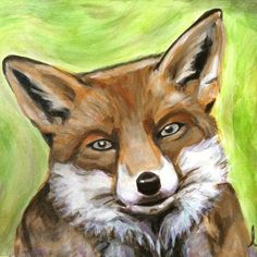 Fox Painting Acrylic on 9 x 12 Canvas Ready to Hang by JLMcArt