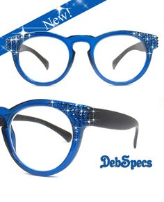 0bdf653f1ac Jimmy Crystal round reading glasses with corners bedazzled by Swarovski  crystals.