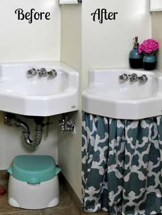 Sink Curtain Before and After - Use a SHOWER curtain... nice idea. I'd want it to be a little less voluminous than this though.