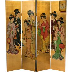 Oriental Furniture 6' Geisha Room Divider (1 115 AUD) ❤ liked on Polyvore featuring home, home decor, panel screens, oriental room dividers, asian room dividers, asian home decor, asian inspired home decor and oriental home decor