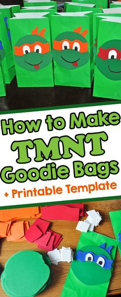 Teenage Mutant Ninja Turtle Party ideas - Learn how to make these TMNT Goodie Bags with a printable template.