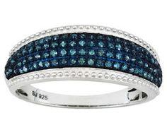 Blue Velvet Diamond(Tm) .33ctw Round Rhodium Over Sterling Silver Ring Erv $299.00
