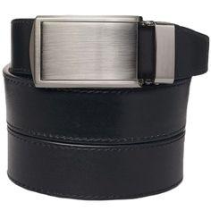 SlideBelts Onyx Premium Full Grain Silver Buckle Ratchet Belt, Adult Unisex
