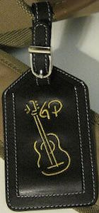 A leather luggage tag with an Guitar on it and your initials. this is an amazing tag that works great on your guitar case to. Tag Luggage, Leather Luggage Tags, Guitar Case, Passport Cover, Travel Accessories, Suitcase, Initials, Briefcase