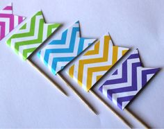 Chevron Cupcake Flags by welldressedcupcakes on Etsy, $2.00