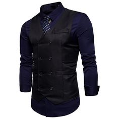New Brand Dress Vests For Men Casual Slim Fit Mens Suit Vest Double breasted Waistcoat Gilet Homme Formal Business Jacket XXL Mens Suit Vest, Mens Suits, Double Breasted Waistcoat, Classy Suits, Moda Casual, Denim Outfit, Blazers For Men, Mens Clothing Styles, Dress Brands