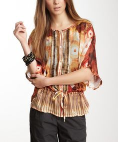Another great find on #zulily! Chili Patchwork Silk Three-Quarter Sleeve Top by Da-Nang #zulilyfinds