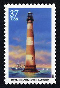 Lighthouse Photos, Lighthouse Art, Morris Island, Birthday Bag, Vintage Stamps, Water Tower, Penny Black, Stamp Collecting, My Stamp