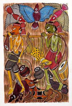 Tribal Hunters - Kalighat Painting - Folk Art Paintings (Kalighat Painting - Water Color on Paper - Unframed) Indian Artwork, Indian Folk Art, Madhubani Art, Madhubani Painting, Painting Patterns, Fabric Painting, Phad Painting, African Art Paintings, India Art