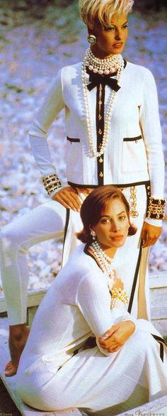 Chanel ~ Vintage Vogue UK Ad Campaign w Christy Turlington + Linda Evangelista