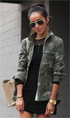 I would do this with my solid green army style jacket for a more polished look...