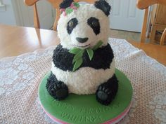 Panda Birthday cake......it was also St Patty's Day so there are Shamrocks in her bow!