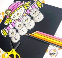 This fall scarecrow craft is a fun way for students to practice his/her first name.  Students will have a blast coloring the boy or girl scarecrow and crow and then writing 1 letter of their name onto each crow.  This activity also comes with writing paper.  Students complete the writing portion and then cut and paste the topper.  This makes a cute display for hallways, bulletin boards and classroom doors once completed.