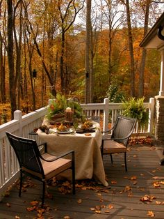 relaxing fall porch
