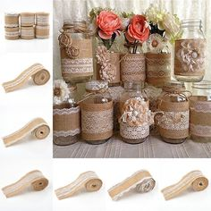 1 Roll Vintage Lace Edged Hessian Burlap Ribbon Rustic Wedding Party Decor 2M #ebay #Home & Garden
