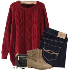 Red cable knit sweater & suede boots